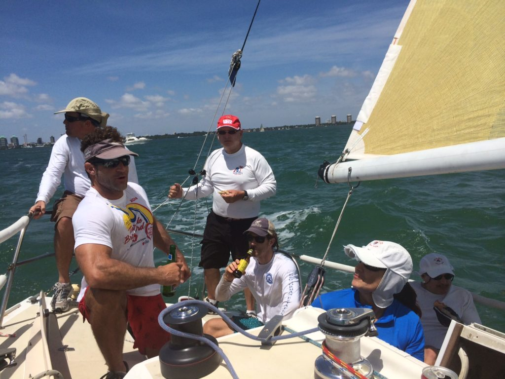 We all enjoyed a few beers and turkey sandwiches after a BBYRA (Biscayne Bay Yacht Racing Association) Race out in the Bay.
