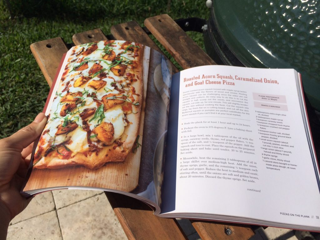 Peach and Proscuitto pizza with arugula.