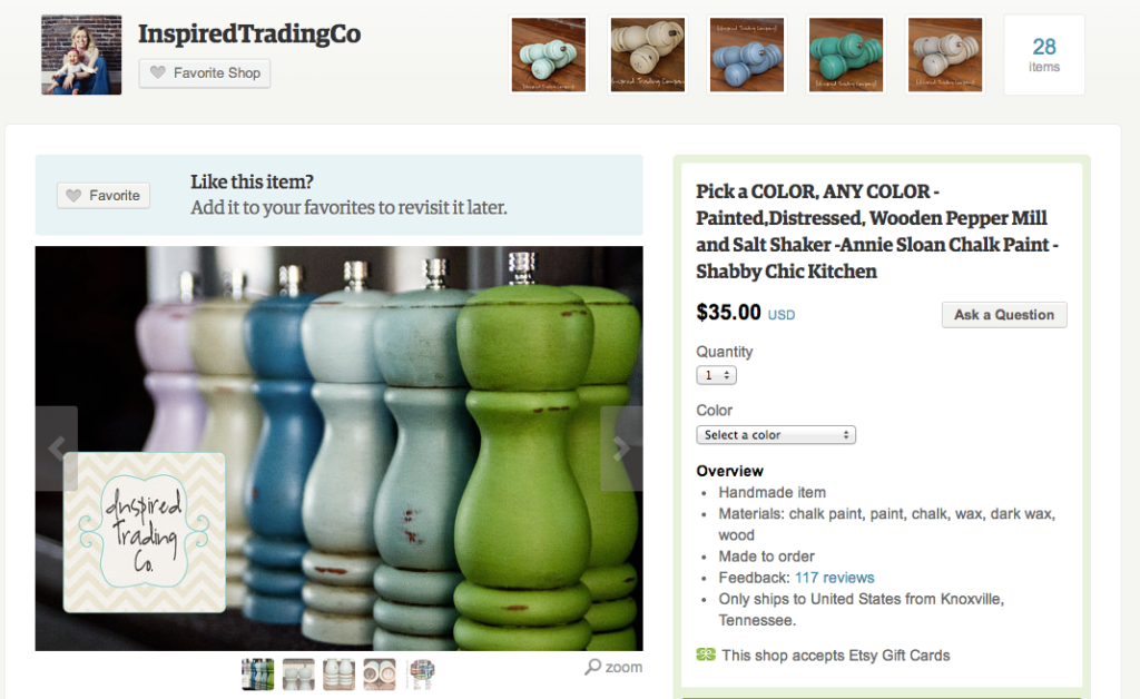 Give mom a pair of Shabby Chic Salt and pepper shakers that match her kitchen colors.