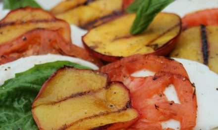 Marinated Grilled Steak Skewers With Grilled Peach Caprese Salad