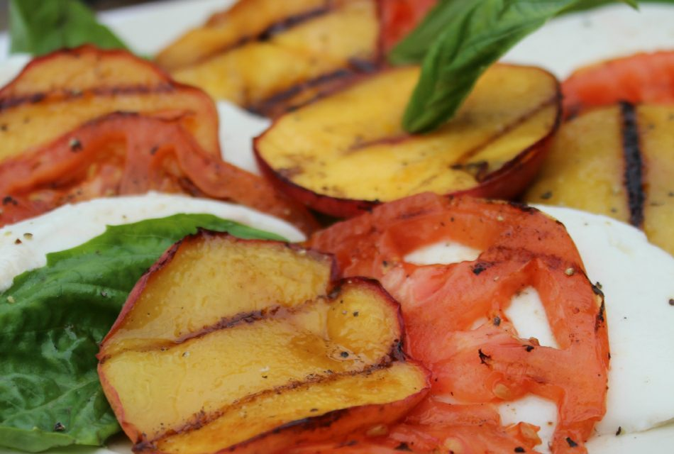 Marinated Steak Skewers With Grilled Peach Caprese Salad