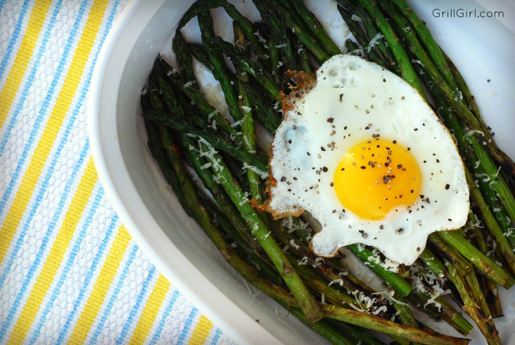 This flavorful combination of smokiness asparagus, runny eggs and parm will knock your socks off.