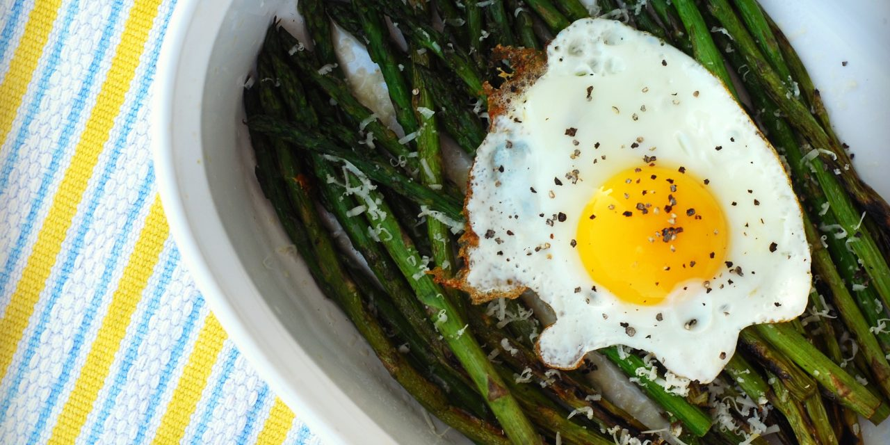 Grilled Asparagus with Sunny Side Up Eggs and Parmesan