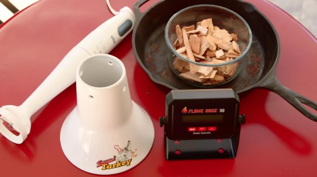 grillgirl, Beer can turkey equipment, Sittin' Turkey, Flame Boss, Immulsion blender, plate setter