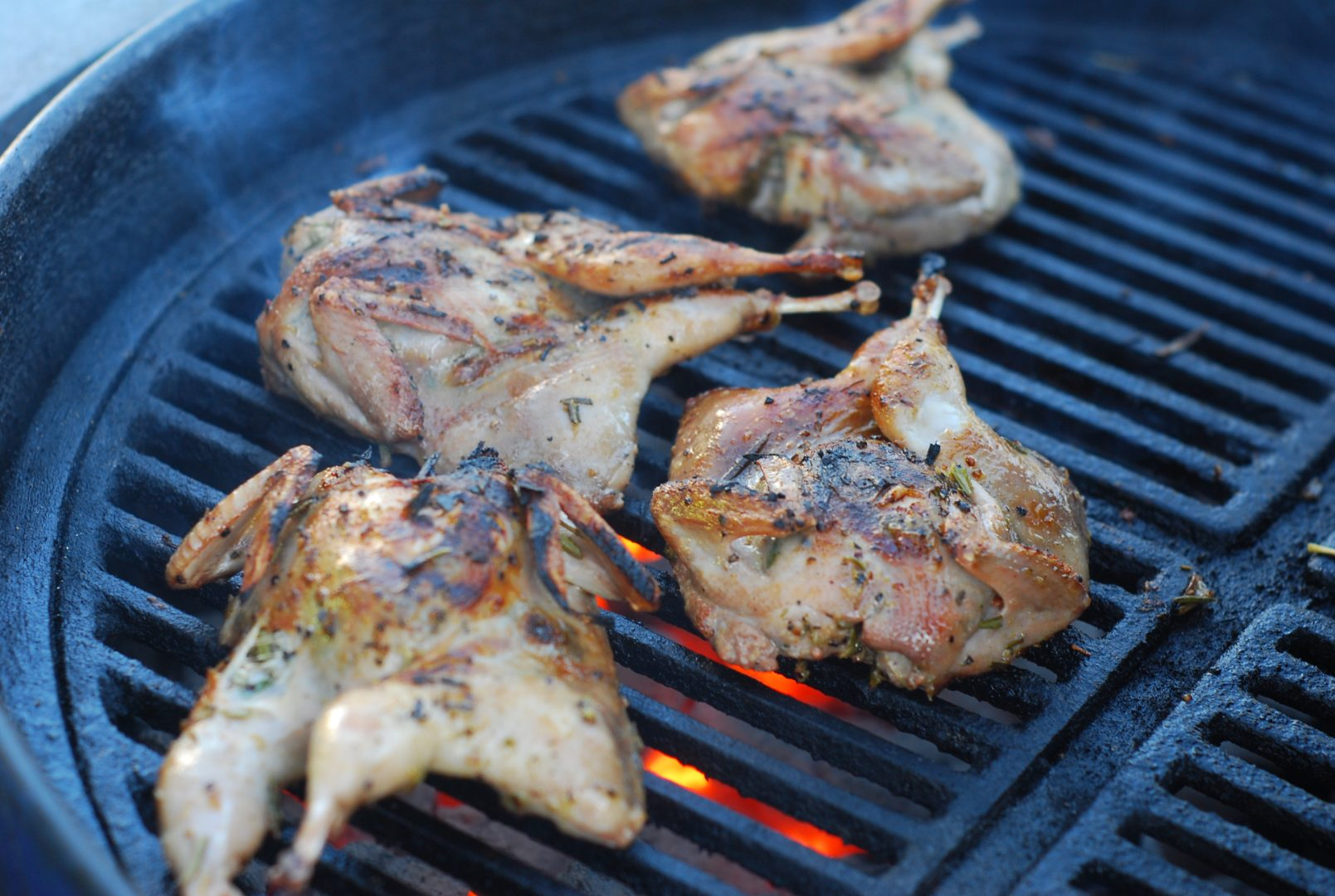 Grill the quail 6-8 minutes per side or until a thermapen reads 170 degrees on the internal temp.