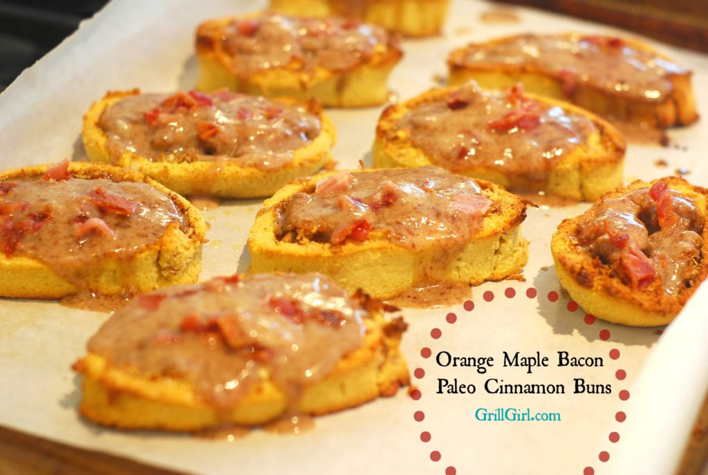 maple bacon paleo cinnamon buns, paleo cinnamon rolls, paleo bakings