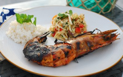 Grilled Soy Ginger Wild Caught Ocean Prawns with Asian Slaw and Coconut Rice