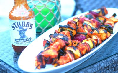 BBQ Chicken, Peach and Poblano Skewers
