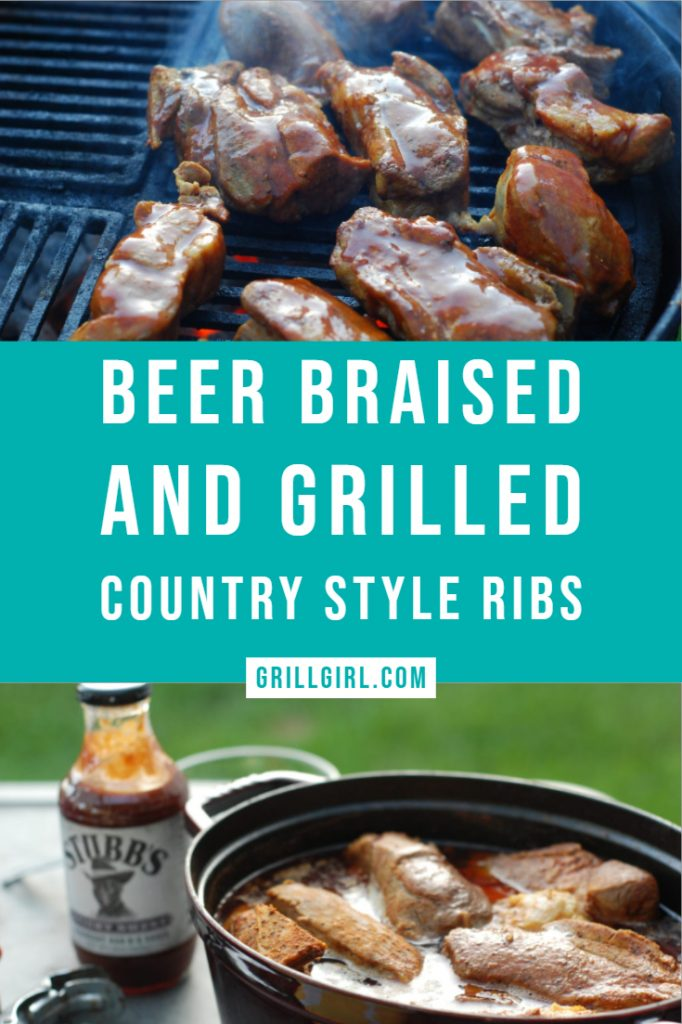 beer braised and grilled country style ribs