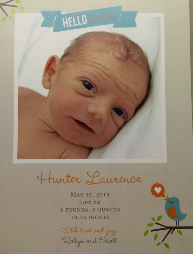 Hunter's official birth announcement. I really love this picture with the adorable forehead wrinkles!