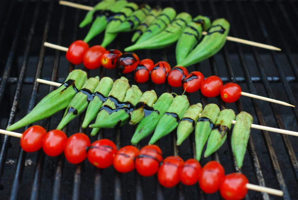 Grill until you get nice char marks- the goal is to get the okra nice and charred.