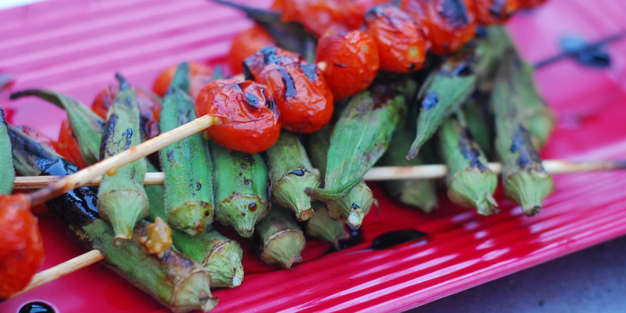 grilled okra and tomatoes