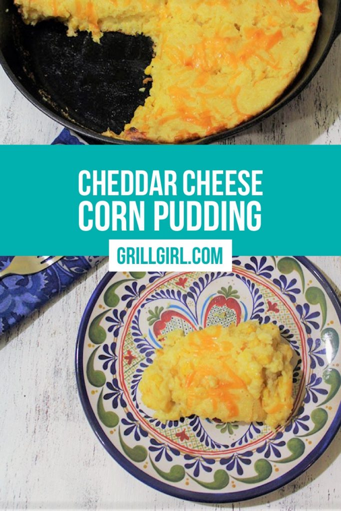 cheddar cheese corn pudding on the grill