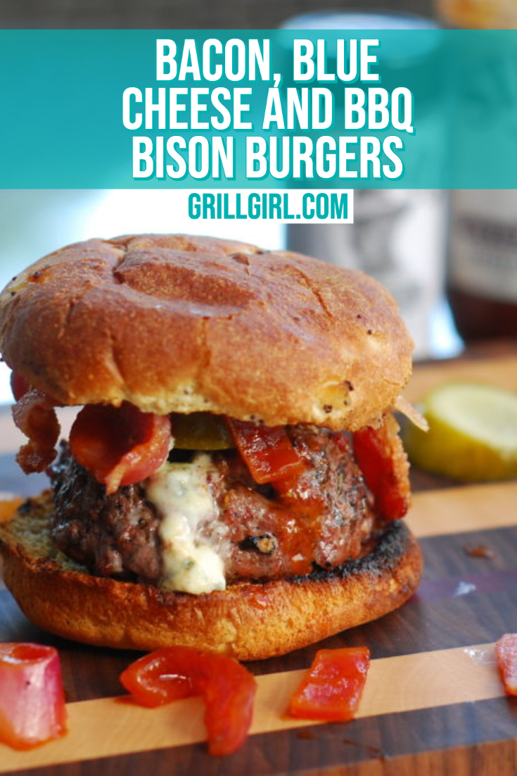 Bacon Blue Cheese BBQ Bison Burgers