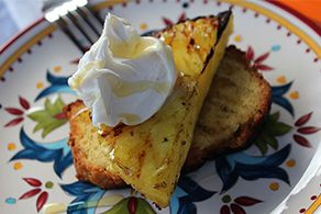 Grilled Pineapple Pound Cake Topped With Honey Mascapone Cheese