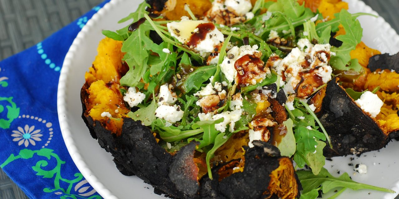 Fire Roasted Pumpkin, Arugula and Goat Cheese Salad