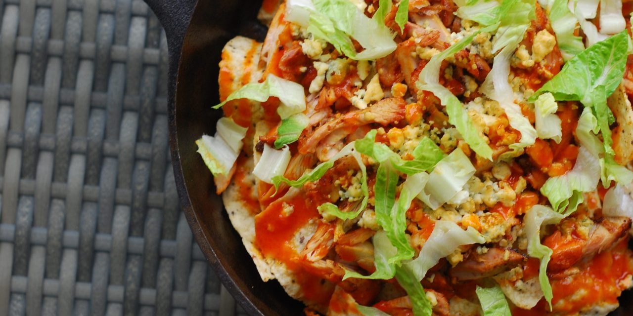 Buffalo Chicken and Blue Cheese Skillet Nachos