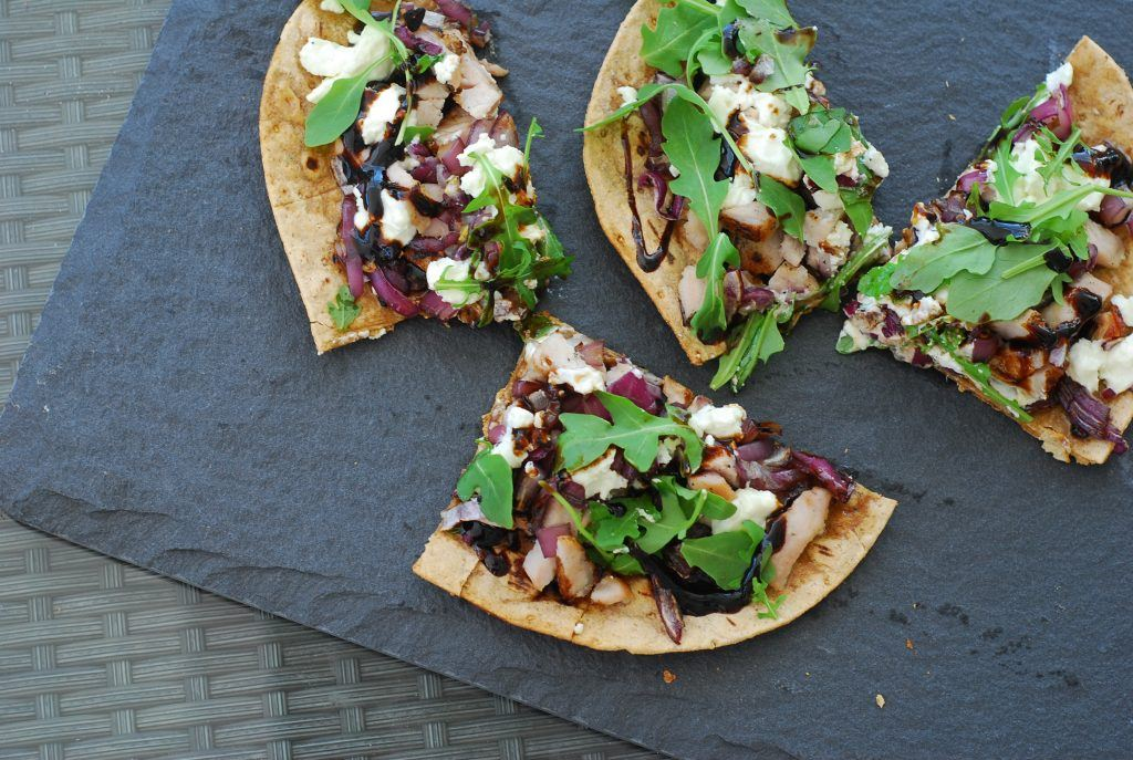 grilled flat bread pizzas with goat cheese, pork loin, and