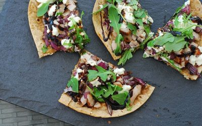 Smithfield Roasted Garlic and Herb Pork Loin, Goat Cheese and Arugula Flatbread Pizzas with Balsamic Glaze, Plus A Chance to win a trip to Napa