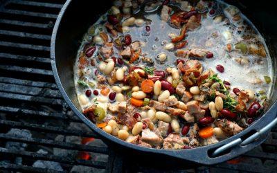Bacon, Pork & Guinness Cassoulet (Dutch Oven Pork and Beans)