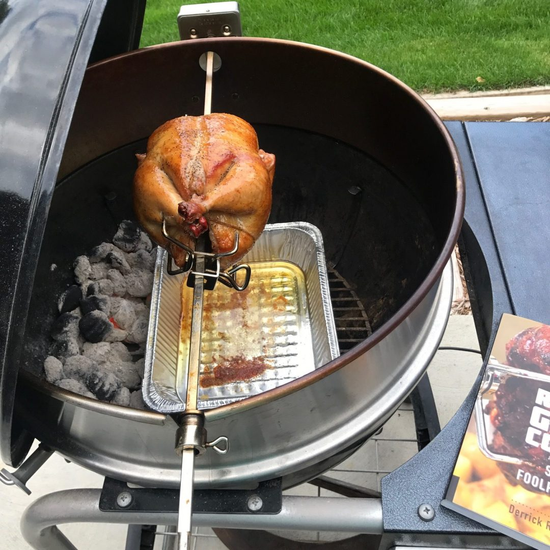 How To Rotisserie Grill A Chicken On A Weber Kettle Grill Girl Recipe
