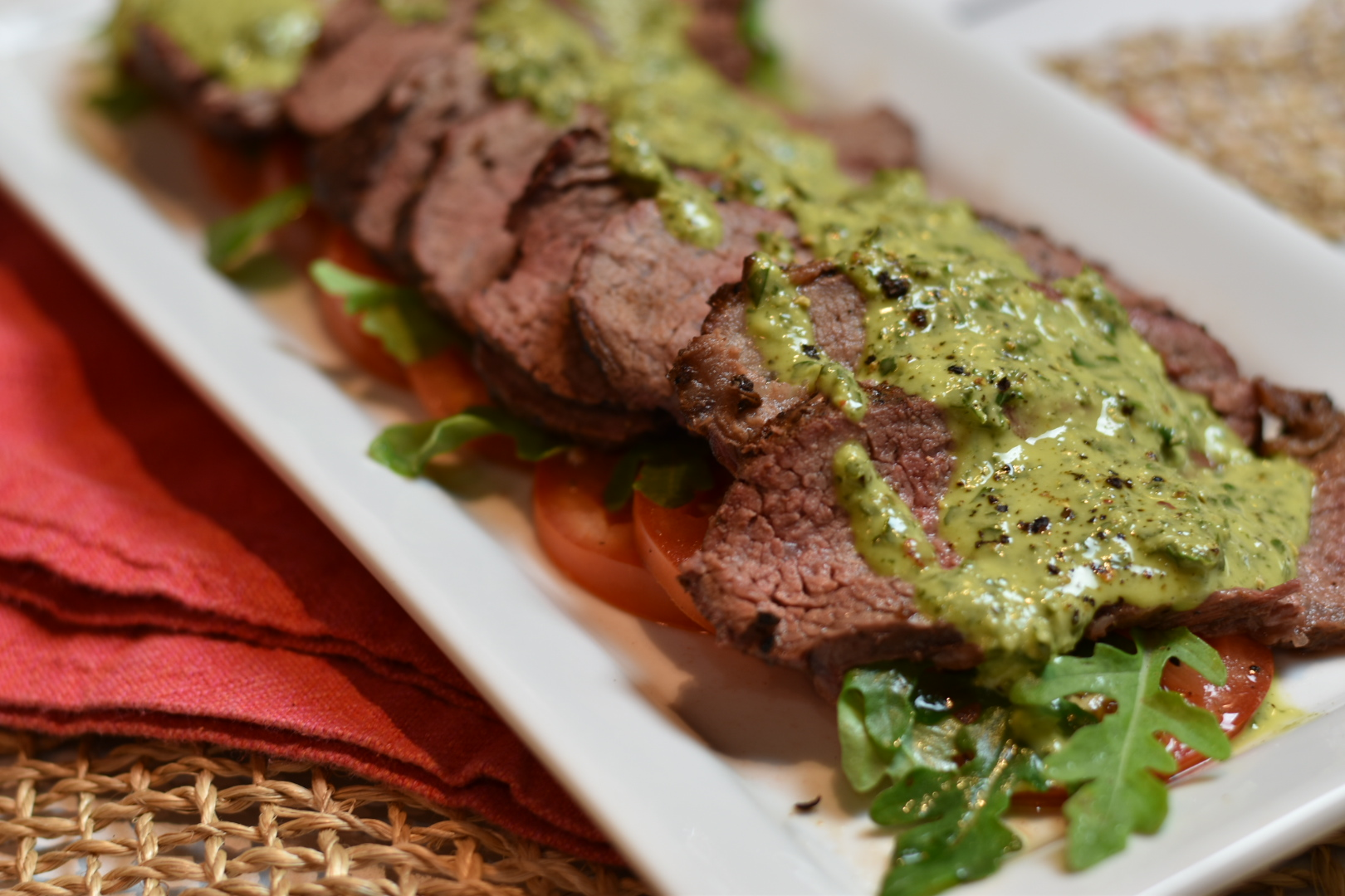grillgirl, Smoked tri tip with chimichurri
