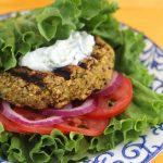 Mediterranean Quinoa Burgers with Cucumber Yogurt Sauce