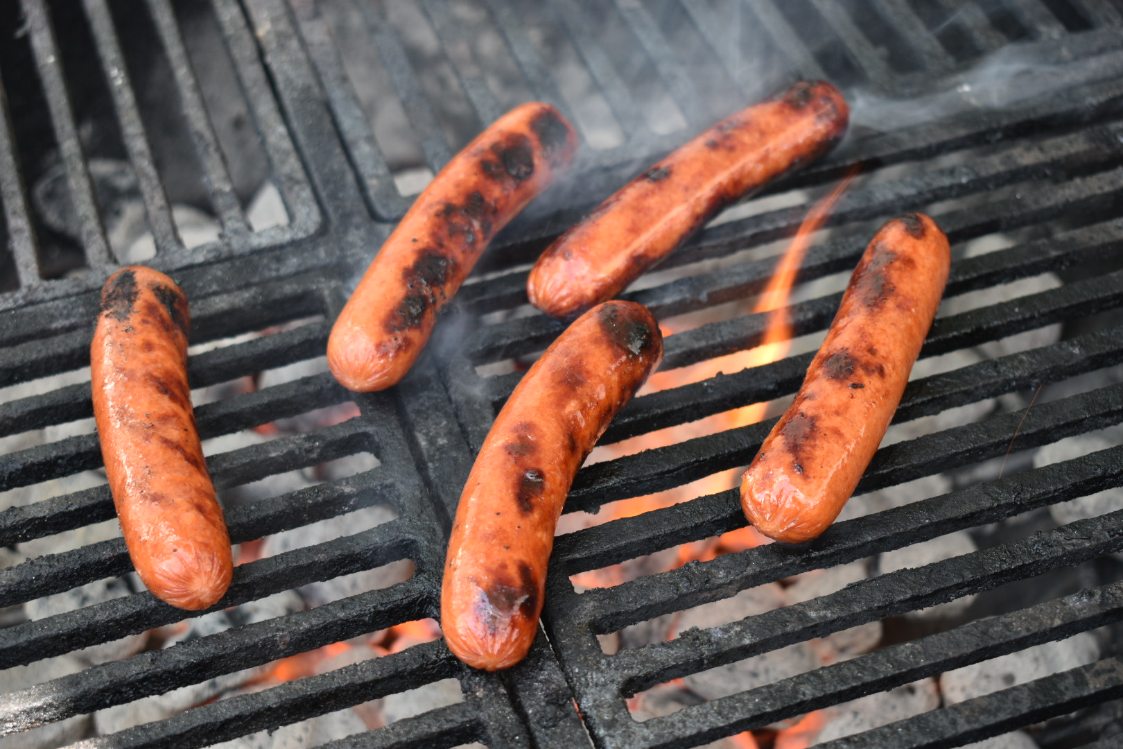flame grilled hot dogs