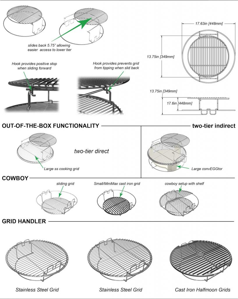grill girl, big green egg, eggspander set up, configurations