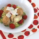 Pellet Smoker Sheet Pan Dinner: Stuffed Chicken Meatballs and Zoodles