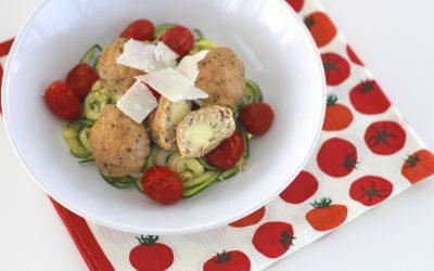 Sheet Pan Dinner: Stuffed Chicken Meatballs and Zucchini Noodles