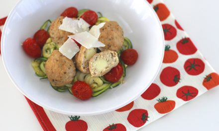 Sheet Pan Dinner: Stuffed Chicken Meatballs and Zucchini Noodles