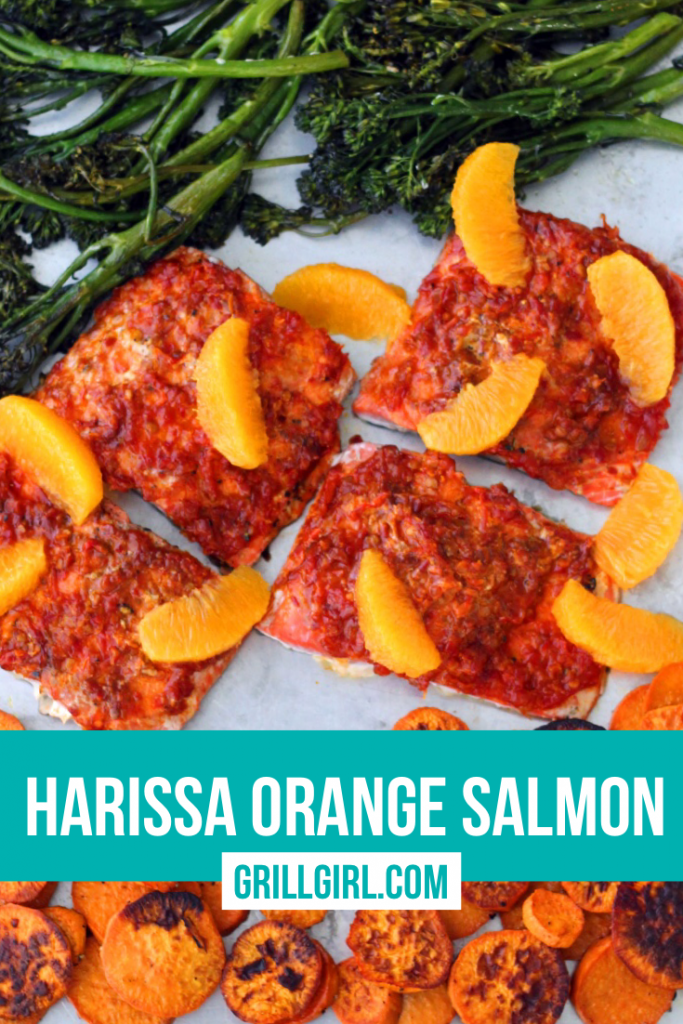 Harissa Orange Salmon Sheet Pan Pellet Smoker Dinner