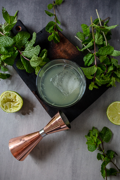 Mint Mezcal Julep with lime