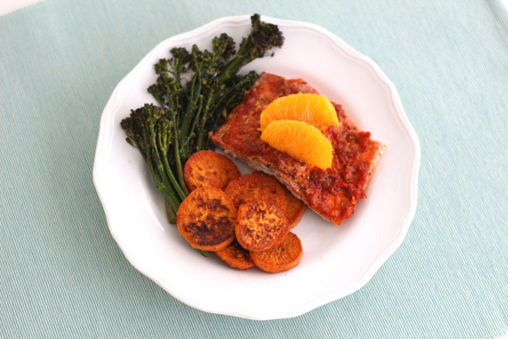 Harissa Orange Salmon with Broccolini