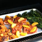 Harissa Salmon Sheet Pan Dinner on Pellet Smoker Grill