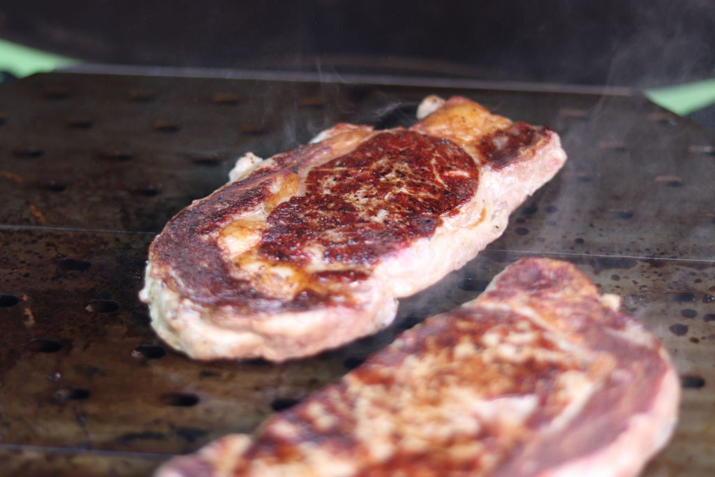 Brown crust on a steak using the flat side of the Grill Grate.