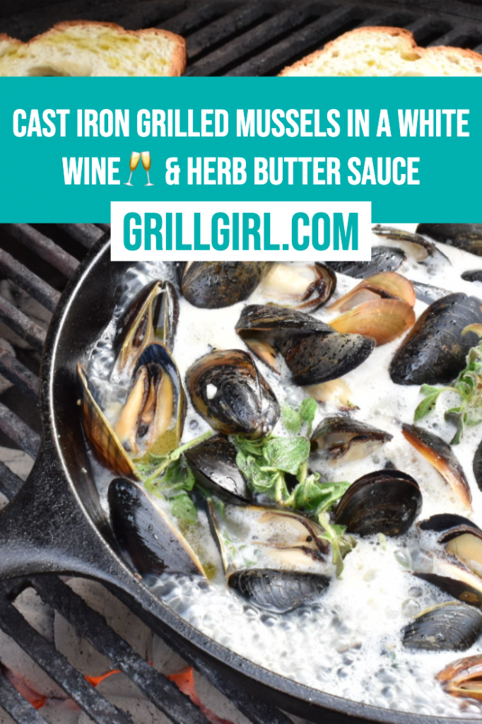 cast iron mussels, grilled mussels