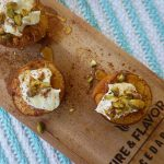 Cedar Planked Peaches with Mascarpone, Pistachios and Honey