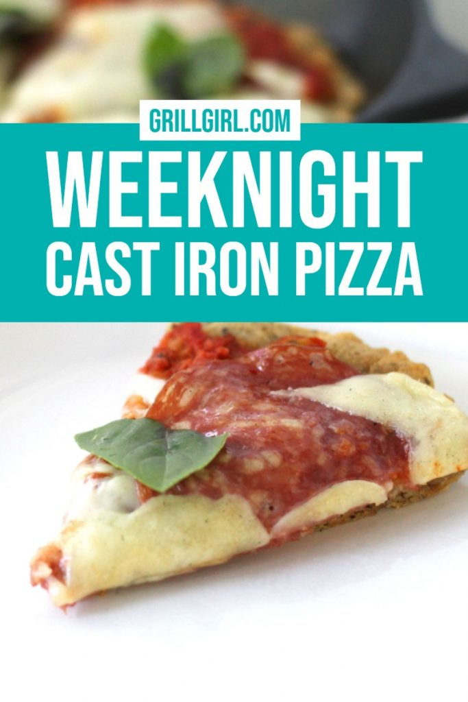 GrillGirl Robyn's recipe for a healthy weeknight cast iron pizza made on a green mountain grill