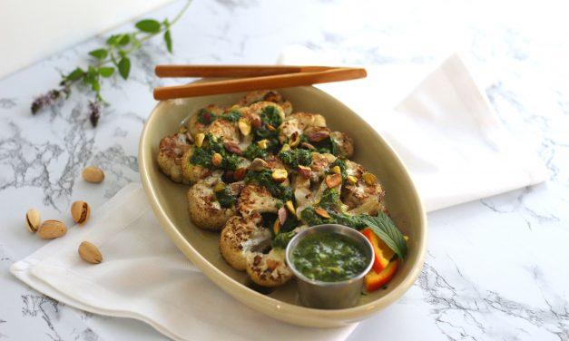 Grilled Cauliflower Steak with Orange Mint Chimichurri