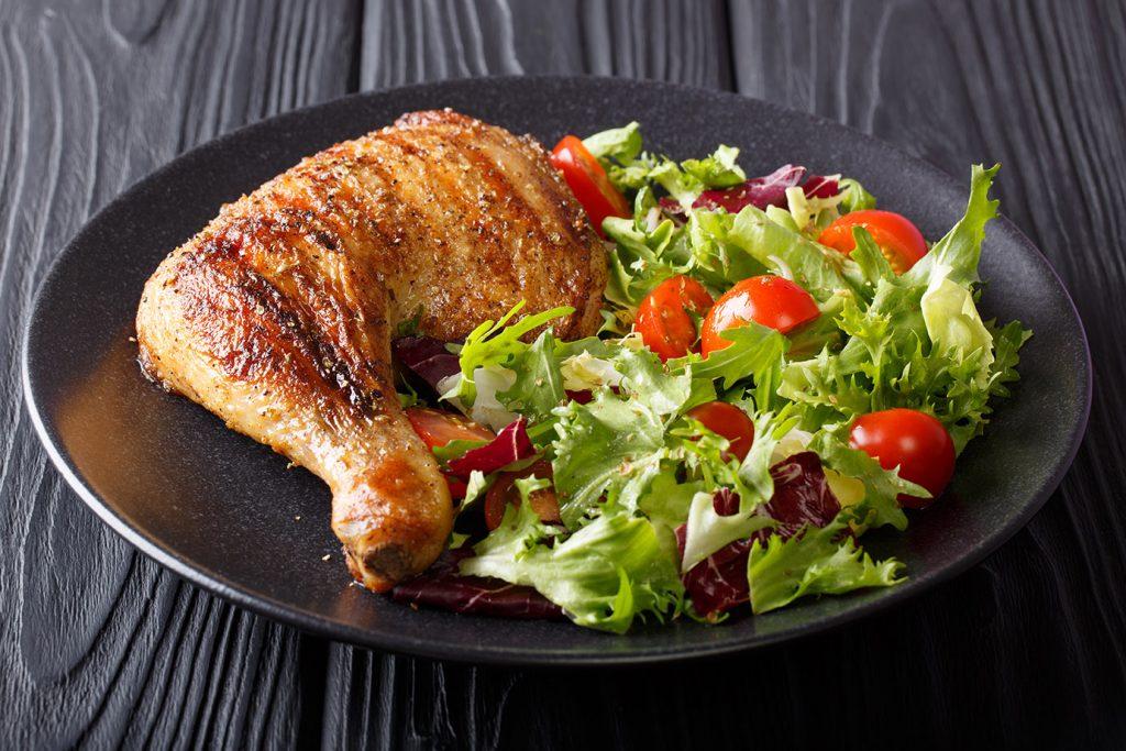 grilled chicken thighs arugula salad weeknight recipes