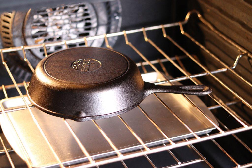 grill girl, seasoning cast iron skillet