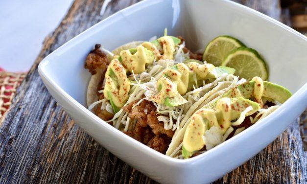 Iguana Tacos with Aji Amarillo Crema (Chicken of the Tree Tacos)