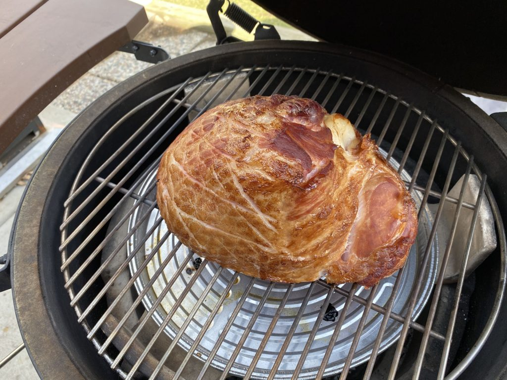 grill girl, glazed ham on the big green egg