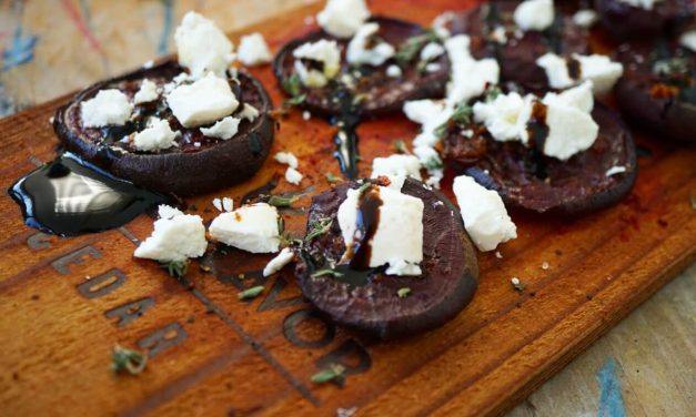 Cedar Planked Beets with Goat Cheese and Balsamic Glaze