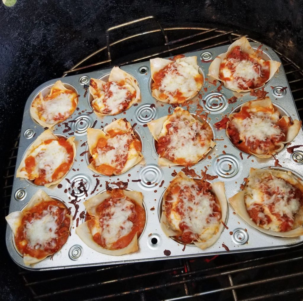 Turkey Wonton Lasagna Cups on the grill