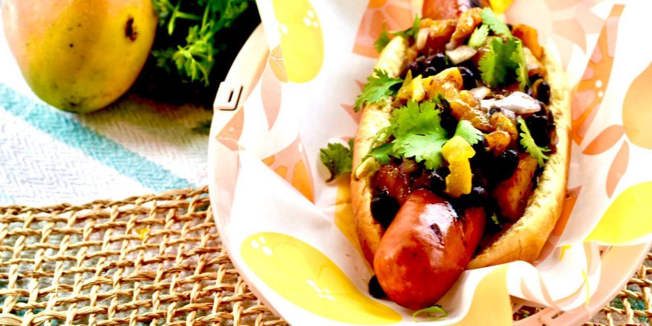 The Floribbean Dog (Sausage Dogs with Mango Black Bean Salsa)