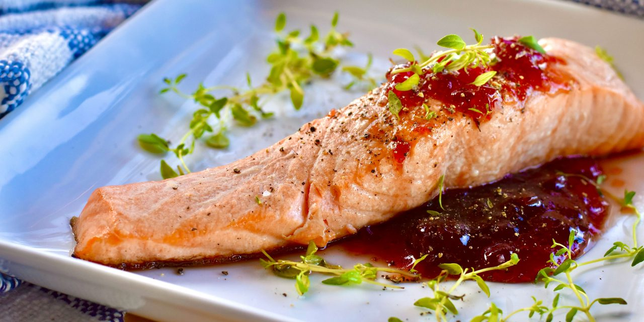 Grilled Salmon with Cherry Thyme Glaze