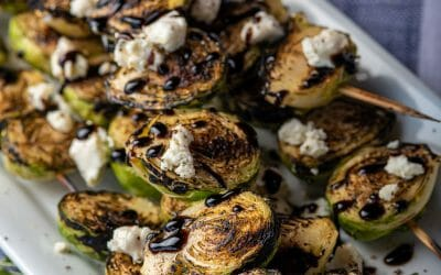 How to Cook Brussels Sprouts on the Grill: Grilled Brussel Sprouts Skewer with Balsamic Glaze and Goat Cheese